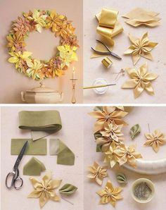 Great fabric flowers to make Diy Ribbon Flowers, Ribbon Art, Ribbon Crafts, Flower Crafts, Fabric Flowers, Paper Flowers, Ribbon Design, Diy Hair Accessories, Flower Tutorial