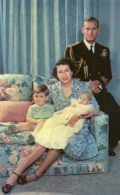 1950 royal family Philip of Mountbatten, Princess Elizabeth, Prince Charles, Princess Anne [an heir and a spare]