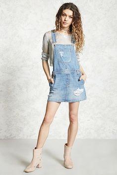 Distressed Overall Mini Dress - Dungarees - 2000321925 - Forever 21 EU English