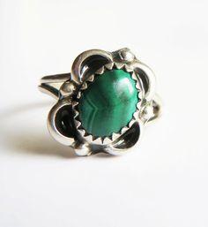 Vintage Navajo Sterling Silver Malachite Flower Ring by LeesStuff, $19.00