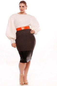 cc918c9fb7a JIBRI Plus Size High Waist Pencil Skirt w Faux Leather Detail classic