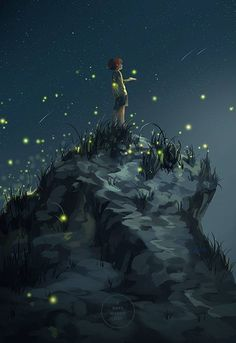 fireflies and starlight - artist unknown Best Picture For anime dessin fille For Your Taste You are Art And Illustration, Illustrations, Fantasy World, Fantasy Art, Fantasy Dragon, Art Graphique, Anime Scenery, Amazing Art, Cool Art