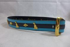 Vintage Escada Belt Leather Gold Tone Buckle Teal & Black Size S/M Made in Italy #ESCADA #WaistBelt