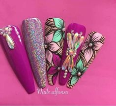 - Best ideas for decoration and makeup - Funky Nail Art, Funky Nails, Glam Nails, Diva Nails, Bling Nails, Beauty Nails, Cute Nails, Pretty Nails, My Nails