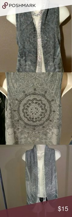 SALE!!  Grey Vest top Really pretty rhinestone design on the back of top. Ginger 6 Other