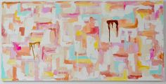 Mint Gold Peach Large Abstract Painting on Canvas by AutumnAspens