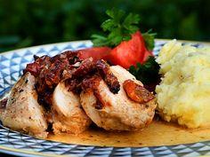 En enkel favoriträtt med soltorkade tomater och potatismos med parmesan.