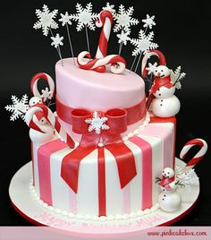 Winter Candy Cane Themed Birthday Cake from Pink Cake Box