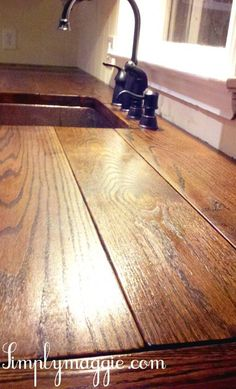 DIY Wide Plank Butcher Block Counter Tops, might do this wide plank top instead of the smaller slats. DIY Wide Plank Butcher Block Counter Tops, might do this wide plank top instead of the smaller slats. Country Kitchen, Diy Kitchen, Kitchen Wood, Kitchen Ideas, Kitchen Design, Kitchen Sink, Kitchen Worktops, Decorating Kitchen, Kitchen Cabinets