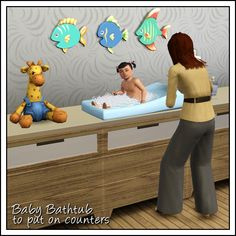 Baby bathtub for nursery counters by Sandy - Sims 3 Downloads CC Caboodle