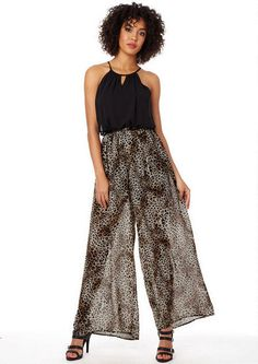 Nia Leopard Jumpsuit - Woven tank jumpsuit with elastic waist. Partially lined. Belt included. #MyAlloy #AlloyApparel