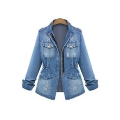 fc6a5c6d224 New Collection Retro Ripped Out Stand-Up Collar Denim Jacket (150 RON) ❤