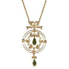 """The Marquesita Pendant from Brilliant Earth This Victorian-era pendant is resplendent in warm yellow gold, exquisite gemstones, and a lovely nature motif. Three concentric circles in delicate precious metal feature two breathtaking pear shaped peridot gems, an appealing wreath design, and elegant cultured seed pearl accents Date: 1870's"" (quote)"