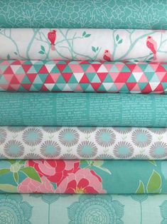 The Quilted Fish for Riley Blake, Cottage Garden, Teal in Fat Quarters 7 Total $19.25 Lace Teal Birds Teal Triangles Teal Newsprint Teal Aster White Main Teal Wallpaper Teal