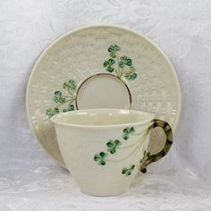 Belleek Irish China Basketweave Shamrock Pattern Tea by scdvintage, $45.00