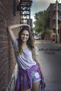 Senior Girls - Poses - Down Town - Brick Wall - Arizona Portrait Photographer - Athena deGanahl Photography