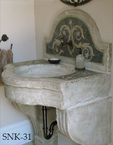 Antique reclaimed stone basin sink salvaged restored and installed in this traditional style Mediterranean home. Laundry In Bathroom, Small Bathroom, Master Bathroom, Washroom, Bathroom Wall, Modern Bathroom, Bathroom Ideas, Beautiful Bathrooms, Sweet Home