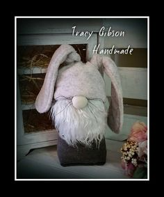 This adorable gnome is ready for Easter in his bunny-ear hat! www.facebook.com/TracyGibsonHandmade