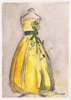"""""""Yellow Vintage Ballgown"""" ~~ Artist ~Lauren Maurer~"""