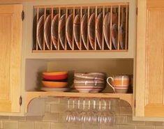 Plate rack and shelf 2 ROWS OF DISH RACK VS SHELF AS SHOWN, SHELF BELOW + CUP SHOOKS + POLE ORGANIZING