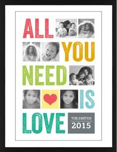 All You Need Is Love Framed Print, Black, Contemporary, Black, White, Single piece, 24 x 36 inches
