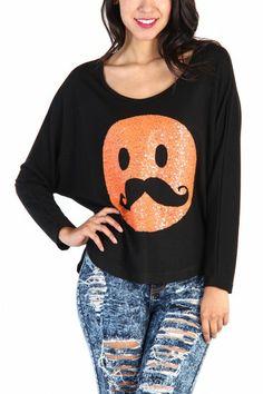 Emoji Coral Sequin Mustache Top - Black