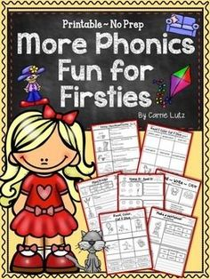 This is a follow up product to the original Phonics Fun for Firsties~Printable No Prep ActivitiesThe format is similar but slightly more challenging on some pages. Download the preview for a free page and a closer look.Includes the following phonics skills:Magic e ~ a_e, i_e, o_e, u_eBossy R ~ ar, er, ir, or, urVowel Teams ~ ai, ay, ee, ea, ui, oa,, ighDiphthongs ~ au, aw, oi, oy, ou, ow, ooEach sound has its own page and two mixed practice pages for each format for a total of over 80…