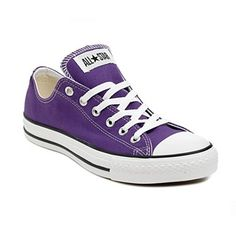 I've worn low cut converse sneakers as my day to day shoes for years. May favorite pair ever was a purple pair about this color. Now I have black pair, but what's important is that whatever I wear has to look good with a pair of converse. Purple Converse, Converse Low Tops, Purple Shoes, Converse Shoes, Shoes Sneakers, Footwear Shoes, Purple Sneakers, Canvas Sneakers, Purple