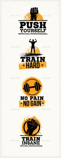 Buy Gym Workout Grunge Motivation Quotes by subtropica_lite on GraphicRiver. Gym Workout Grunge Motivation Quotes Inside our strong pack you will find: Set of 4 different elements, that could mo. Motivational Pictures, Motivational Quotes, Inspirational Quotes, Gym Frases, Gym Interior, Interior Ideas, Gym Logo, Fitness Motivation Pictures, Lifting Motivation