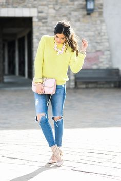 transitional outfit bright colors
