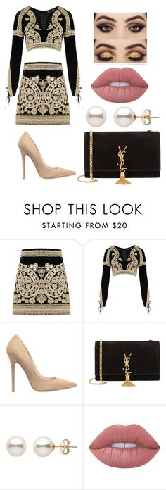 """""""6"""" by fashionista-guru93 ❤ liked on Polyvore featuring For Love & Lemons, Jimmy Choo, Yves Saint Laurent and Lime Crime"""