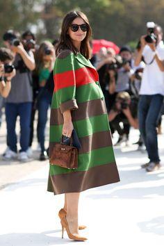Miroslava Duma sporting suede and stripes outside the Valentino Paris Fashion Week show. Photo: Imaxtree.