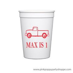 Vintage Truck Birthday Personalized Stadium Plastic Cups -   - Pink Poppy Party Shoppe - 1