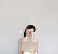 """Lovely Sora Kim wearing The Triangle Bra. - www.thenudelabel.com """