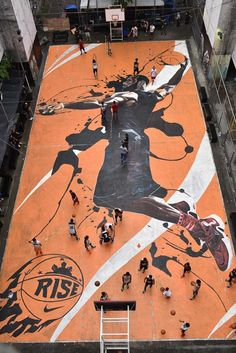 Nike Made A Mural Of LeBron James On a Basketball Court In The PhilippinesAs you can see in the picture Nike actually made a mural for LeBron for his World Tour to Asia. Nc State Basketball, Street Basketball, Basketball Is Life, Basketball News, Basketball Pictures, College Basketball, Basketball Rules, Basketball Legends, Basketball Tattoos