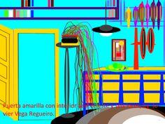 Puerta Amarilla con interior azul celeste y seis loros.
