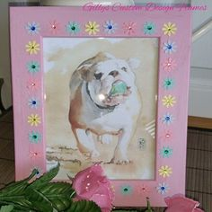 ♥♥ Custom Designed Solid Oak Baby Pink With Pastel Flowers Photo Frame ♥♥