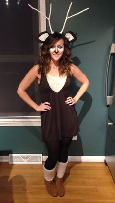 My DIY deer halloween costume #deer #halloween #costume #makeup #deermakeup  sc 1 st  Pinterest & Ooh...she created a chic Halloween outfit without looking