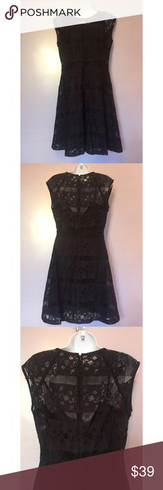 {Nanette Nanette Lepore} Lace Dress Cap sleeve lace dress with slip. Size 4 (no size tag). Dress is black and slip is blue - on it looks great! Nanette Lepore Dresses