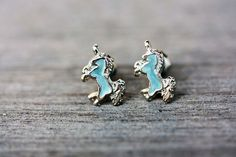Blue and Silver Unicorn Studs