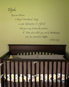 Vinyl Scripture for Baby Nursery Wall. $45.00, via