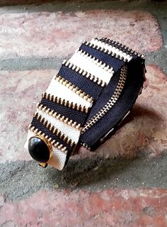 Striped Zipper Cuff by ShopLuLuRo on Etsy, $30.00