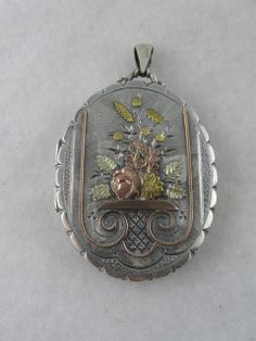 Exquisite Victorian Silver & 9ct Gold 'Flower Basket' Large Locket - from blackwicks on Ruby Lane