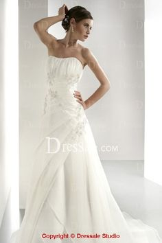 Ethereal Strapless Chiffon Wedding Apparels with Ruches and Applique Details love this one!!!!!!!!