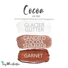 Cocoa Eye Trio just screams FALL & uses three SeneGence ShadowSense : LIMITED EDITION Glacier Glitter, LIMITED EDITION Candied Cocoa Shimmer and Garnet. These creme to powder eyeshadows will last ALL DAY on your eye. #shadowsense #trio #shadowsensetrio #eyeshadow #cocoa