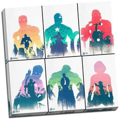 Avengers Superhero Comic Characters Canvas Print Picture Wall Art Large 20x20 Inches: Amazon.co.uk: Kitchen & Home