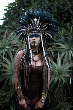 Large Voodoo Priestess feather and bone headdress