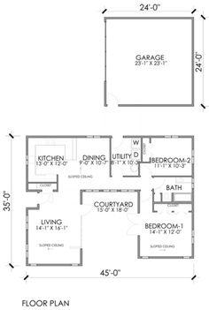 Modern Style House Plan - 2 Beds 1.00 Baths 1232 Sq/Ft Plan #518-8 Floor Plan - Main Floor Plan - Houseplans.com