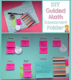 Guided Math Assessment folder: Sticky Notes, Washi Tape, a folder and an envelope. So cute and simple!