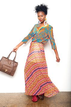 Zig Zag print maxi skirt with ethnic print top